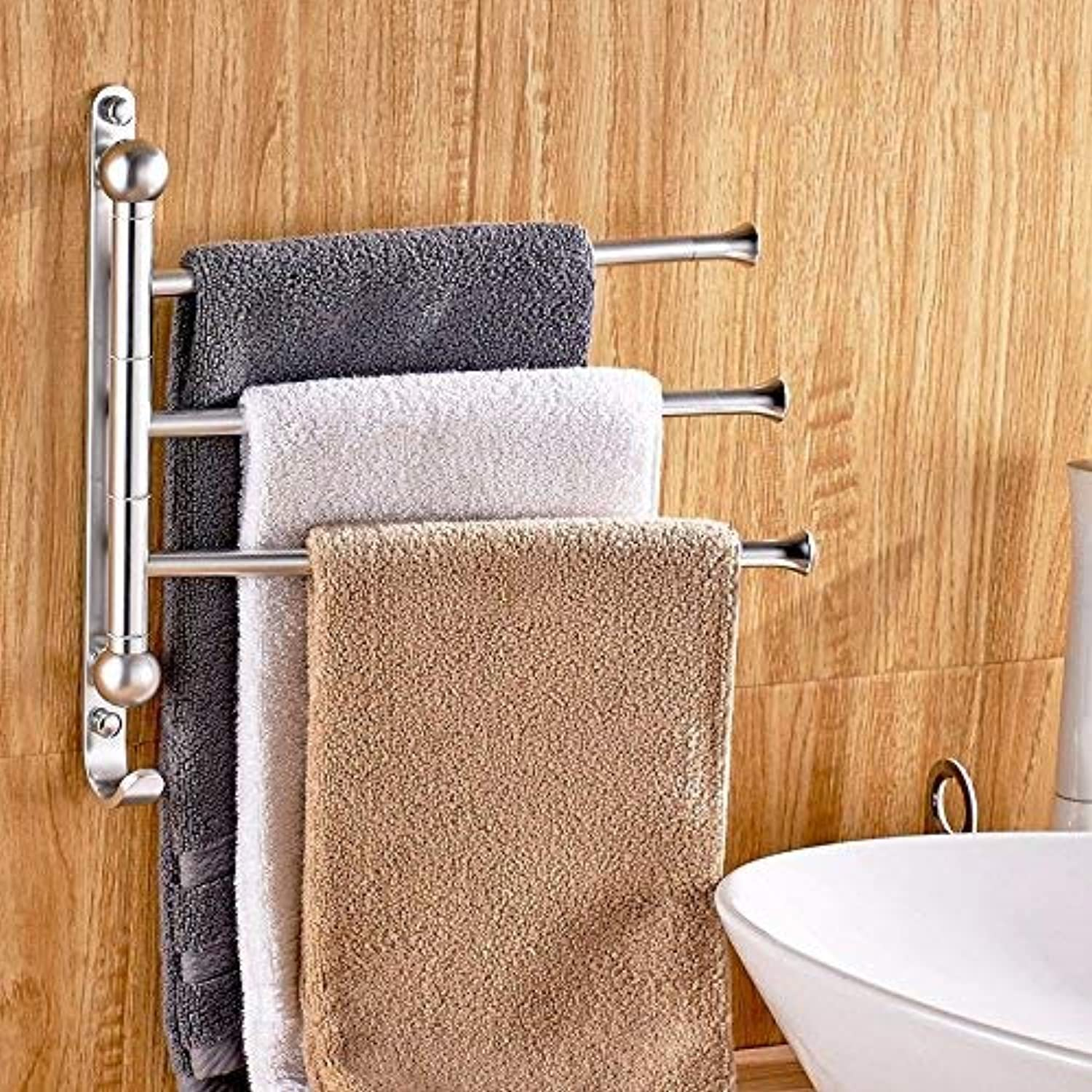 Oudan Towel Racks Aluminum Rocker 3 Swivel Bar Bathroom Rack Wall Mount 31  31Cm Towel Rails
