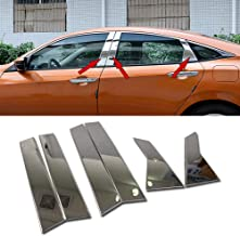 RQING for Honda Civic 10th 2016 2017 2018 2019 Door Window Frame Cover Trims Stainless Steel -6PCS
