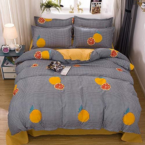 Zxyzhk 3 Pieces Duvet Cover Kids Bedding Set Cartoon Fruit Lemon Orange 135*200Cm Print Reversible Duvet Cover Set Soft Cover Skin-Friendly Quilt Cover And 2 Pillowcase Set Sinlge Size For Boys Girls