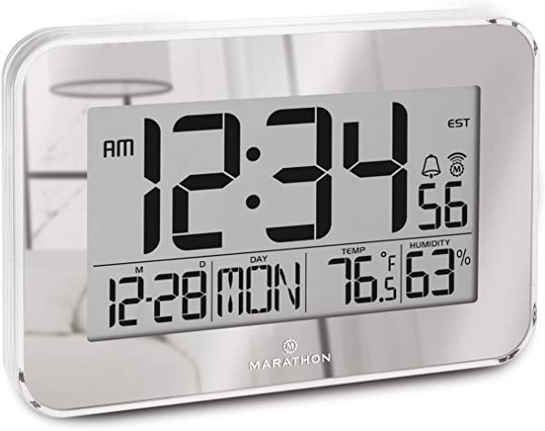 Marathon CL030060SV Atomic Wall Clock With Alarm Snooze Table Stand And Clear Bezel Easy To Read Date Temperature Humidity 8 Time Zones Batteries Included Color Mirrored