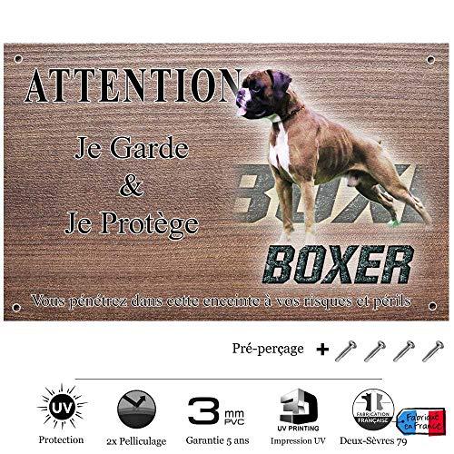 Pets-Easy.com Panneau Attention au Chien personnalisée mâle Boxer - pré perforée et vis proposées. De 30 cm à 15 cm…