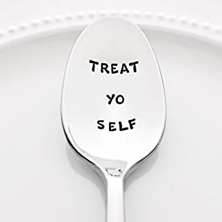 Parks and Recreation: Treat Yo Self - (Option to Personalize with a Name) -Stainless Steel Stamped Spoon | Stamped Silverware | Gift for Her | Self Care Gift for Friends | Mother's Day Gift for Mom