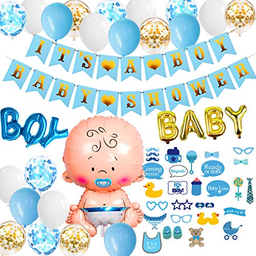 YIMAKJ Baby Shower Junge, Baby Party Set Decorativo – It's a Boy Baby Shower Ghirlanda, XXL Neonato Palloncino in Pellicola per Bambini Baby Doccia Decorazioni
