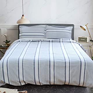Merryfeel 100% Cotton Yarn Dyed Stripe Duvet Cover Set - Twin - Grey Blue