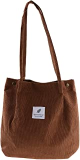 Prettyia Women Lady Vintage Durable Canvas Tote Large Capacity Handbag Corduroy Shoulder Bag