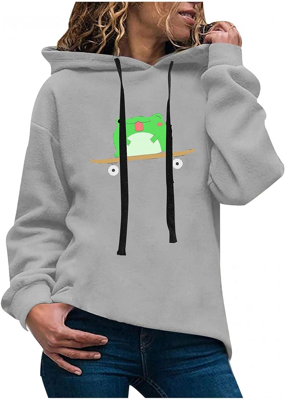 Toeava Women's Fashion Hoodies Sweatshirts Casual Long Sleeve Skateboard Frog Graphic Sweatshirt Hooded Pullover Tops