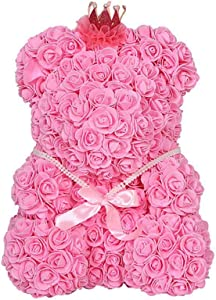 """Aesy Rose Bear Teddy Bear Cub Forever Artificial Rose Anniversary Birthday with Gift Box (Pink - 9"""" Tall)"""
