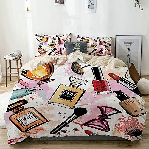 Nonun Bettbezug Set Kosmetik und Make-up Thema Muster mit Parfüm Lippenstift Nagellack Pinsel Modern Beige Dekorative 3-teilige Bettwäsche-Set mit 2 Kissen Shams