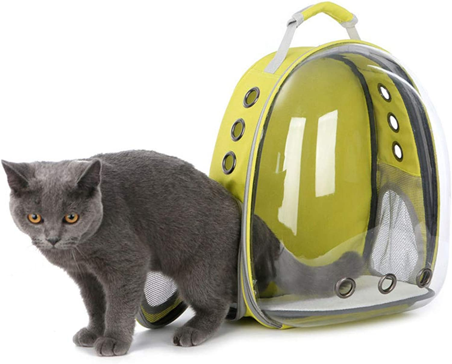 1PC Cat Outdoor Carrying Backpack Travel Pet Space Capsule Transparent Waterproof Cat Holding Backpack (Yellow)