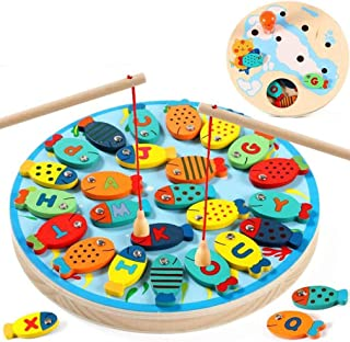 Wooden Fishing Game Toy for Toddlers Fish Catching Counting Preschool Board Games Toys for 2-4 Year Old Girl Boy Kids Lear...