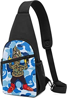 KMYUROOL Chest Pack Bape Nisex Mens Womens Outdoor Sports Unbalance Backpack Chest Bag