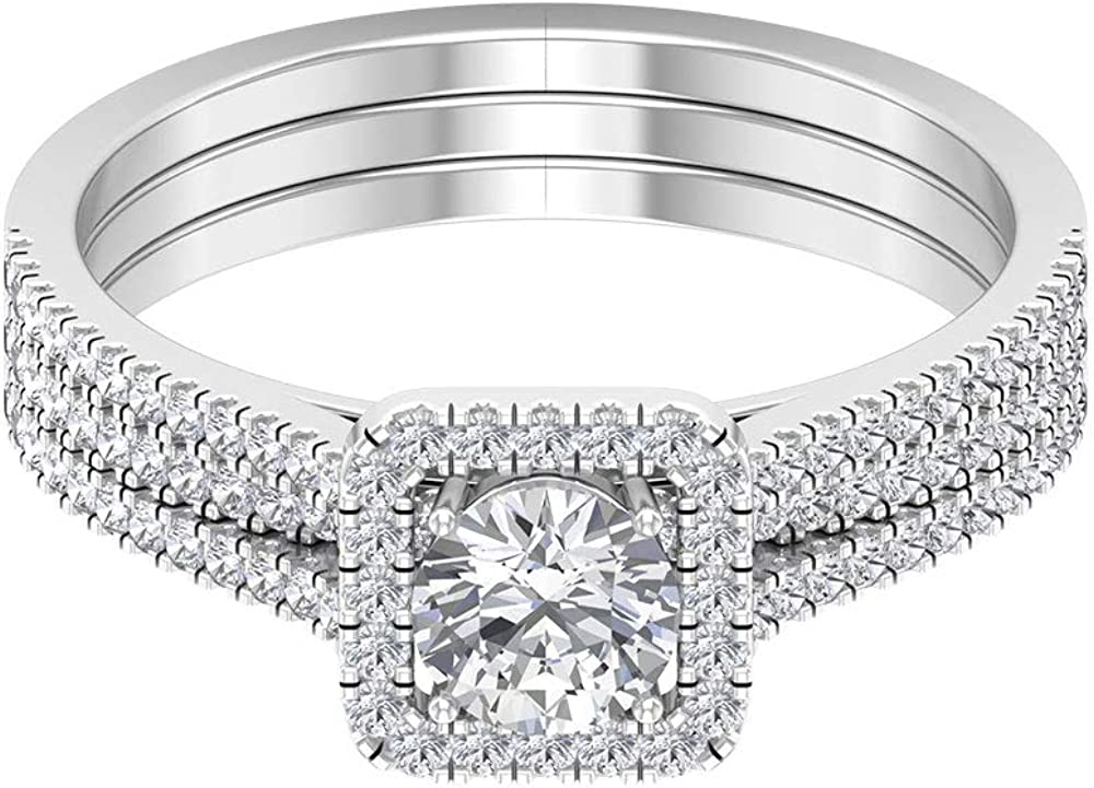 1.01 Ct SGL Certified Max 68% OFF Diamond Halo Band Triple Bri Classic 5% OFF Ring