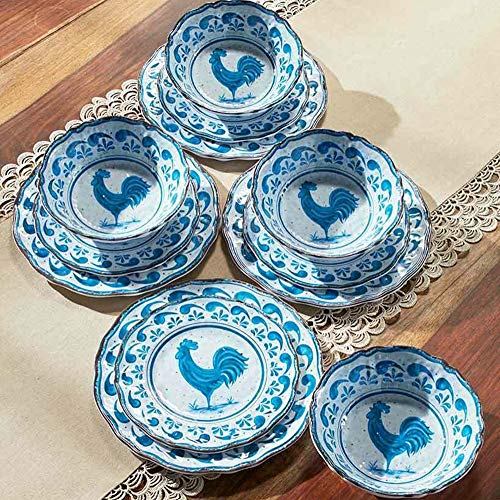 Briskly41 12 Pc. Country Rooster Melamine Dinnerware Set Blue Farmhouse Dishes Plates Bowls Table Collection Serving Kitchen