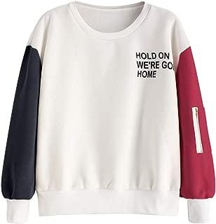 Women's Crewneck Sweatshirt Contrast Colorblock Fleece Long Sleeve Pullover Tops