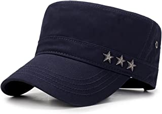 ChezAbbey Unisex Solid Brim Flat Top Cadet Caps Adjustable Snapback Corps Military Stylish Flat Top Hats with Stars Beside
