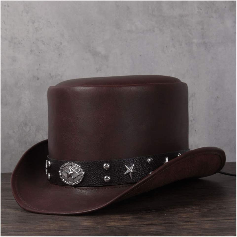ZRZZUS Fashion Elegant 3 Size Leather Top Hat Ladies Men Presidential Fedora Hat Rivet Decoration Steampunk Cosplay Party Hat (Color : Coffee, Size : 56-57CM)