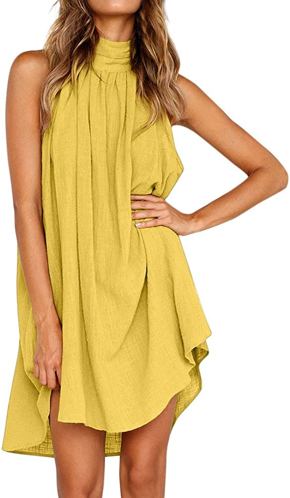 Jaqqra Summer Dresses for Women Sexy Casual Sleeveless Halter Neck Plain Loose Sun Dresses for Beach Party Cami Dress