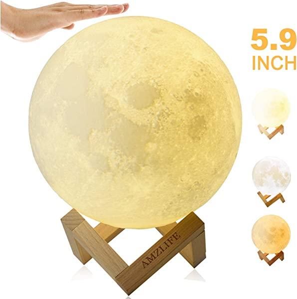 AMZLIFE 3D Printing Moon Light Tap Control Rechargeable Moon Lamp With Multi Colors LED Lunar Night Light For Bedrooms And Home Decor Working While Charging