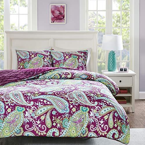 Intelligent Design, Boho Design, Plush Diamond Reverse Ultra Soft Quilted Faux Fur Comforters Set, Twin, Purple