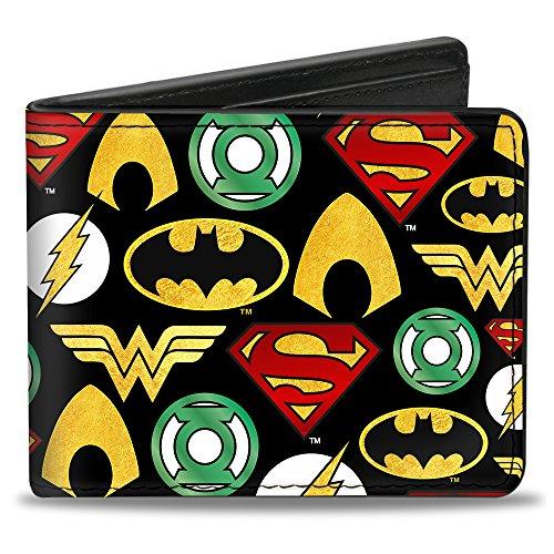 Buckle-Down mens Buckle-down Pu Bifold - Justice League 6-superhero Logos Collage Black Bi Fold Wallet, Multicolor, 4.0 x 3.5 US