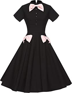 Women's 50's Bowknot Swing Stretchy Dresses with Pockets