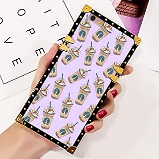 Case for iPhone 6/6S, Square Soft TPU Protective Case for Girls Lady Metal Decoration Cute Starbucks Starbucks Coffee Starbucks Collection