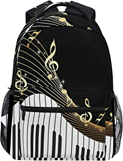 Piano Keyboard Music Note Durable Backpack College School Book Shoulder Bag Travel Daypack for Boys Girls Man Woman