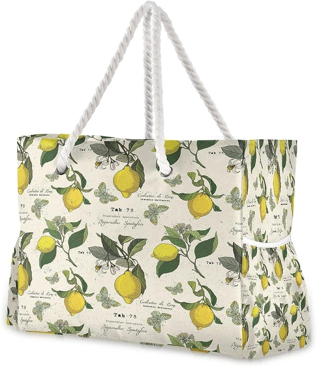 Women Large Beach Bag Lemon Vintage And Ranking TOP5 free Tote Travel Butterflies