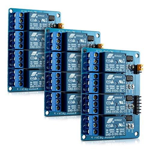kwmobile 3X Modulo relè 5V a 4 canali per Arduino - Relay Module Scheda Arduino con optoisolatore accoppiatore - Set da 3 Moduli
