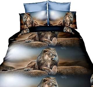 US QUEEN UNFILLED DUVET COVER /& PILLOWCASE SET ANIMAL NEW LION UK KING