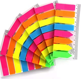 960 Pieces Neon Page Markers, FANDAMEI 6 Sets Translucent Page Flags Fluorescent Index Tabs Sticky Notes Tabs with 12 cm Measurement for Page Marker