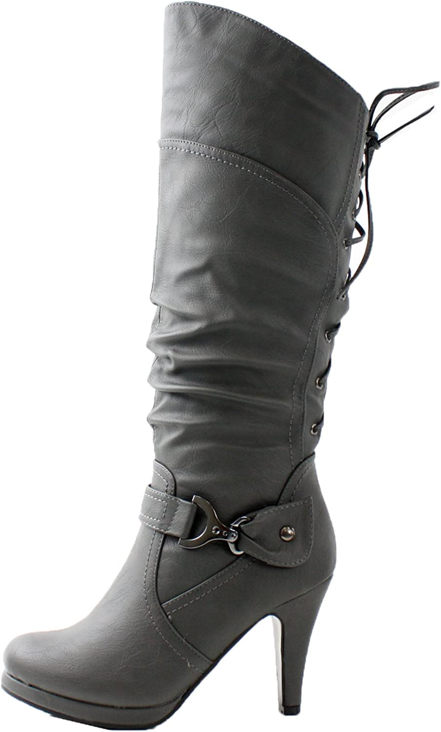 TOP Moda Womens Page-65 Knee High Round Toe Lace-Up Slouched High Heel Boots,Black,5.5