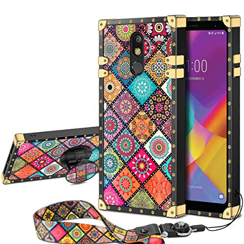 JAKPAK Case for LG Stylo 5 Case with Kickstand for Girls Women Soft TPU Luxury Stylo 5 Case with Strap Shockproof Protective Heavy Duty Metal Cushion Reinforced Corner Case for LG Stylo 5 Retro Flower
