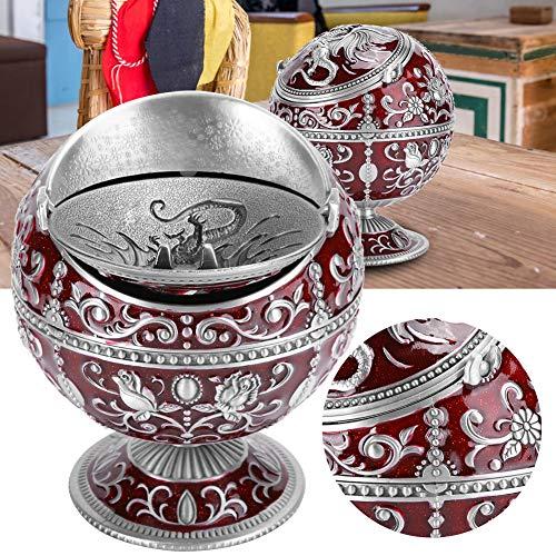 Vcriczk Cenicero Vintage Duradero, cenicero Rojo Vino Que no se decolora a Prueba de Viento, Caja de Basura pequeña para la Oficina de Almacenamiento en el hogar