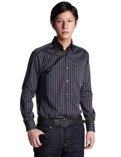 (インターメッツォ)INTERMEZZO マルチストライプボタンダウンシャツ 6212204 99 ブラック L