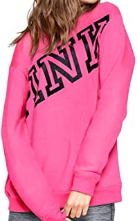Pink Soft Fleece Campus Crew Sweatshirt XSmall Relaxed Fit NWT Pink