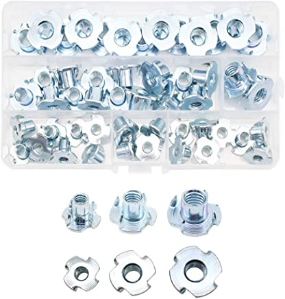 Rock Climbing Walls 3//8-16 x 7//16 Yoohey 100pcs 3//8-16 Inch T Nuts Pronged Tee Nut for Cabinetry Woodworking
