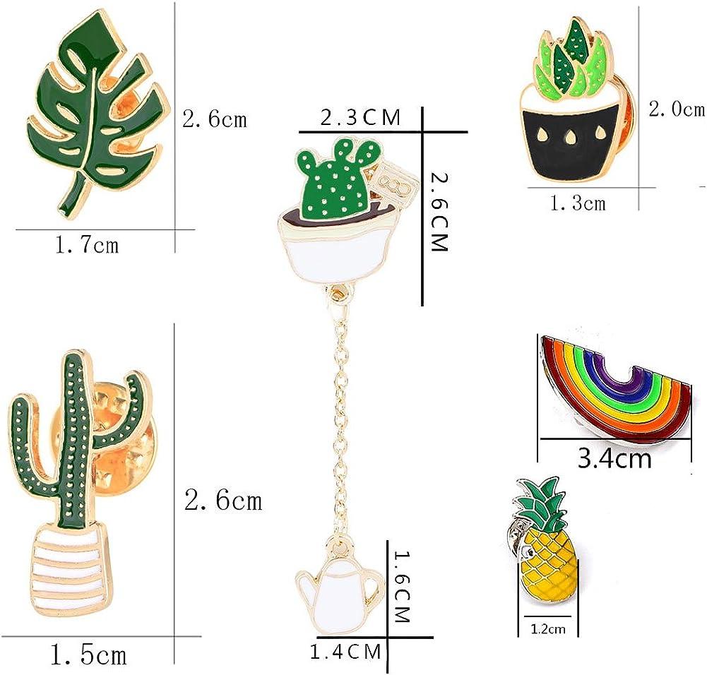 Cute Enamel Lapel Pin Set, 6pcs Cartoon Brooch Pin Badges for Clothes Bags Backpacks - Rainbow Cactus Succulent Leaves Pineapple