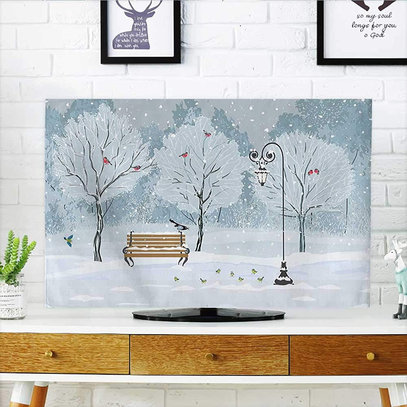 Auraisehome Cord Cover for Wall Mounted tv Decor Snow Falling in The Park on a Cold Winter Day Birds Lanterns Cover Mounted tv W20 x H40 INCH/TV 40