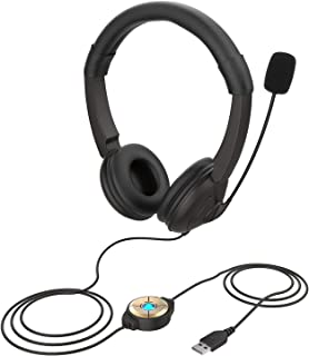 Kiboule Headphones Over Ear,USB Wired Headset with Noise Cancelling Microphone,On Ear Computer Headphone with Soft Memory ...