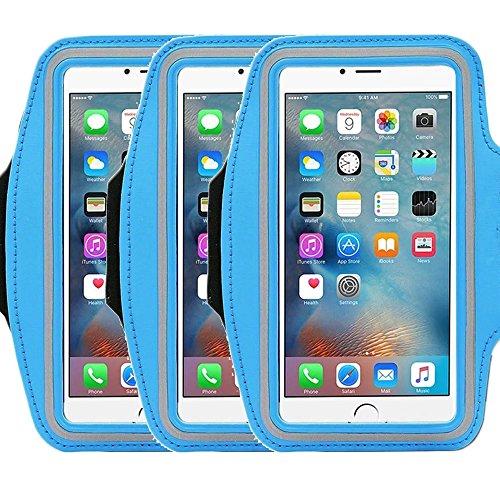 Universal Sportarmband casehigh Shop leicht Montage Sports Sportarmband mit bauen in Bildschirm schützen Fall für kratzfeste Material Slim Leichtes, armband blue 3pack