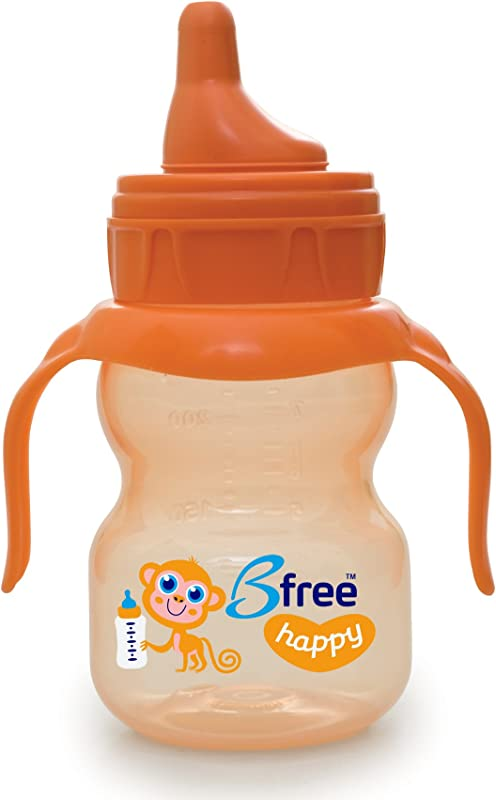 Bfree BPA Free Anti Colic Soft Spout Happy Baby Sippi Cup Orange 7 Oz