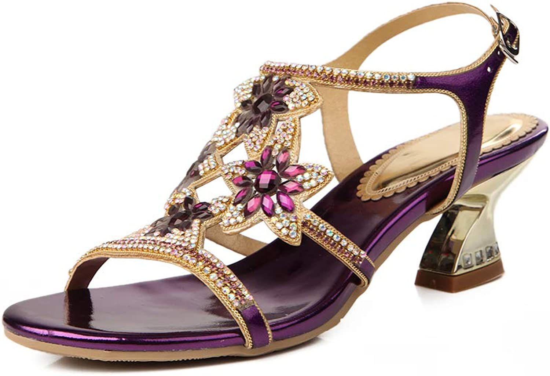 Women's Low-Heeled Evening Dress Sandals Rhinestone Flower Embellished Dress Sandals Ankle Strap Buckle Sandals