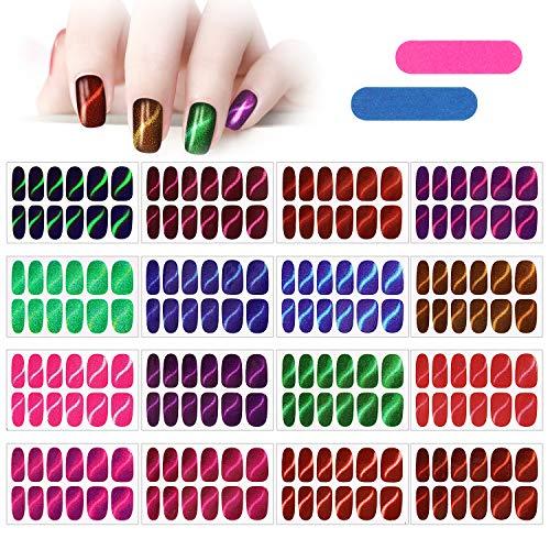 MWOOT 16 Blatt Glitzer Nagelaufkleber mit Nagelfeilen,Nail Art Aufkleber,Katzenauge Nagelsticker,Design Selbstklebende Maniküre Sticker Schöne Mode DIY Dekoration