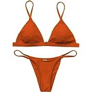 Macvise Women's 2 Pcs Bikini Triangle Top Brazilian Bottom Swimwear Bikini Set