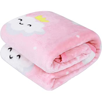 TILLYOU Micro Fleece Plush Baby Blanket Large Lightweight Crib Blanket for Toddler Bed, Super Soft Warm Kids Blanket for Daycare Preschool, Fluffy Fuzzy Flannel Nap Blanket Oversized, 39x47 Pink Cloud