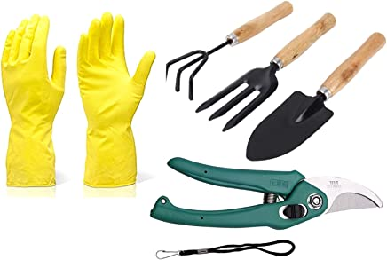 TWENOZ Gardening Tools kit (Set of 3) with Reusable Rubber Hand Gloves and Flower Cutter/Scissor