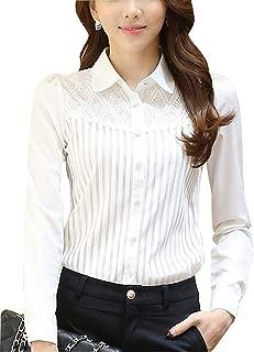 Women Hollow Out Back Zipper Lace Long Sleeve Elegant Blouse