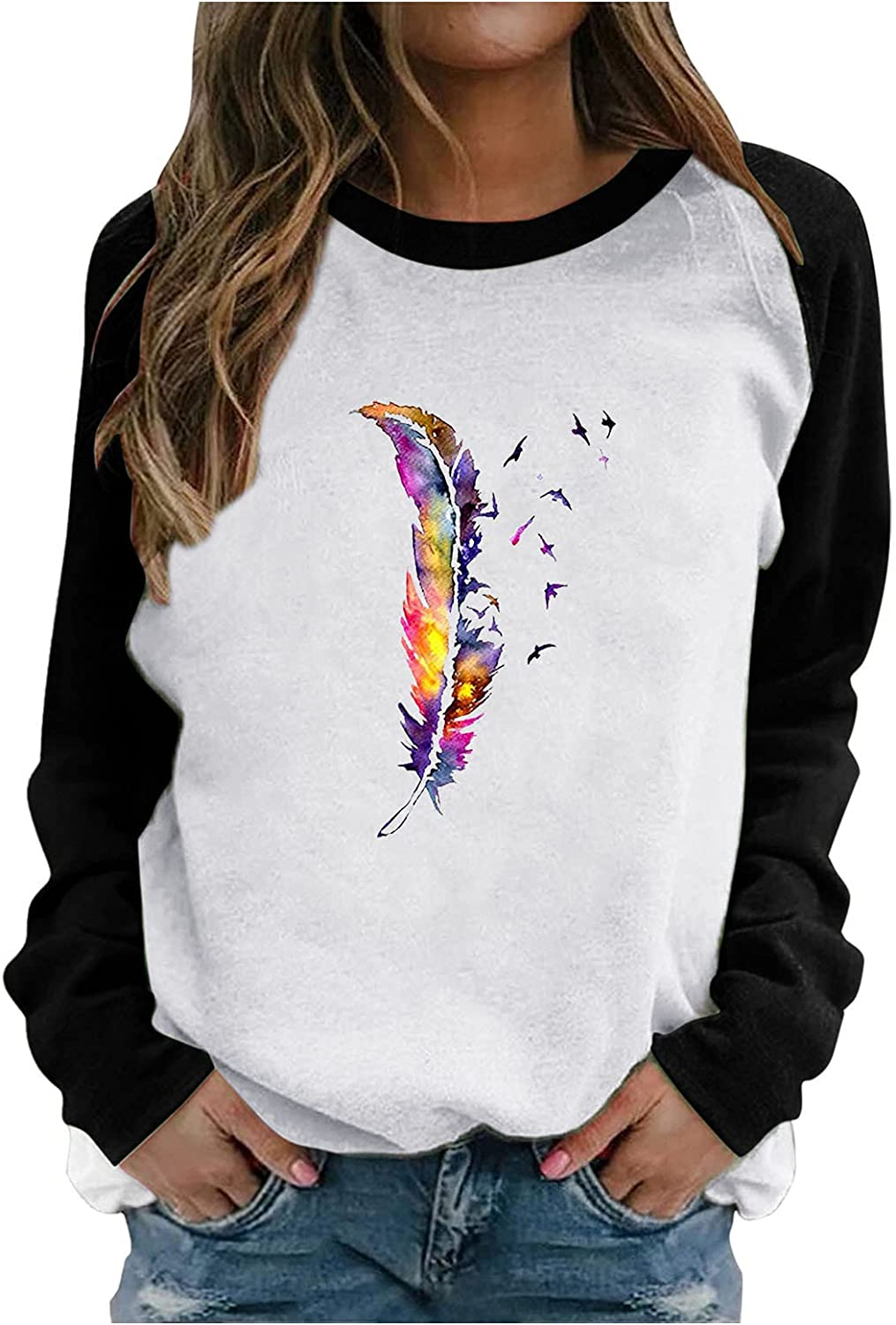 Feather Graphic Long Sleeve Tees for Women Splicing Raglan Sleeve Casual Tops Loose Fit Retro Blouse Trendy Pullover