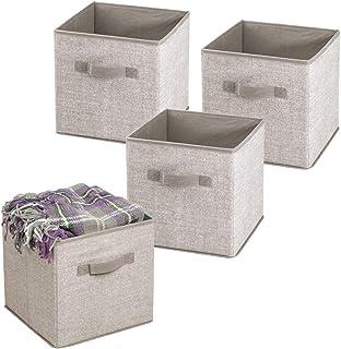 mDesign boîte de rangement pour chambre d'enfants ou à coucher (lot de 4) – bac de rangement avec poignées – panier de ran...